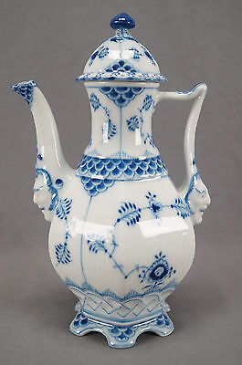 Royal Copenhagen 1 / 1030 Blue Fluted Full Lace Face Coffee Pot Circa 1957