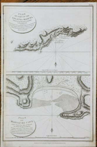 Perouse Map - PLAN OF ISLAND OF MAOUNA & MASSACRE COVE -  Engraving - 1798