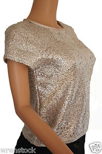 Metallic silver gold glitter shimmer sparkly party top t for Silver metallic shirt women s