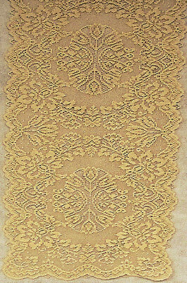 Savoy 14x36 Antique Gold Lame Table Runner Heritage Lace NWOT