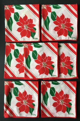 Set 7 VERA Vintage Christmas Cloth Dinner Lunch Napkins Poinsettia Red Flowers