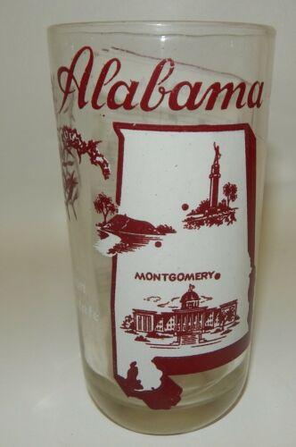 Alabama Cotton State - Oh Susanna Song - Vintage Souvenir Glass