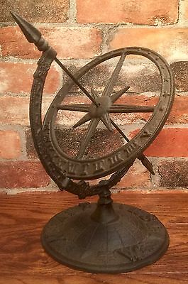"Cast Iron 12"" Dark Brown Table Sundial & Sphere Armillary"