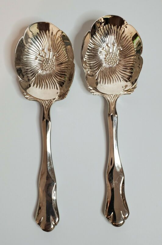 x2 Floral Embossed Silver Plated Serving Spoon International Silver Company 1994