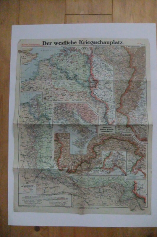 PAASCHES´S WWI WW1 MAP WESTERN FRONT ITALY BELGIUM VERDUN RUSSIA EASTERN # 4