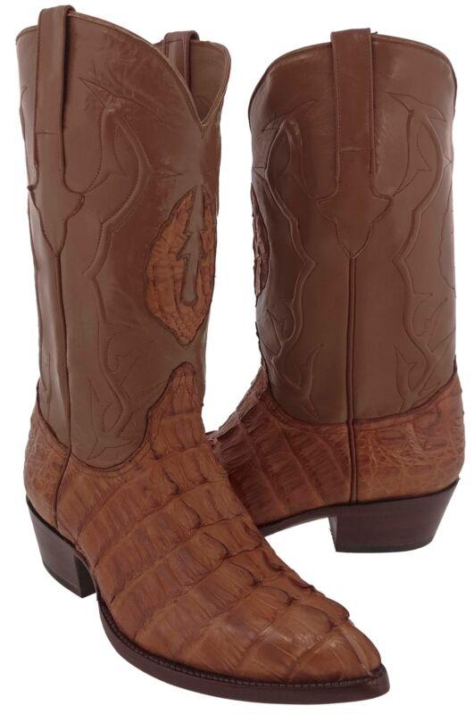Mens, Cognac, Real, Crocodile, Skin, Tail, Cut, Leather, Cowboy, Boots, Western, J, Toe