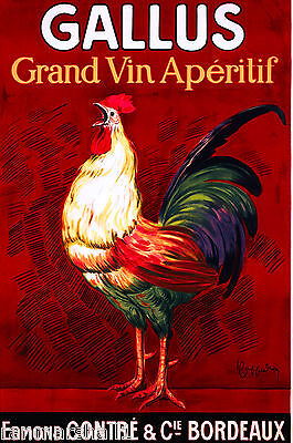 Gallus Grand Vin Rooster French France Vintage Wine Advertisement Poster Print - Deluxe Printing
