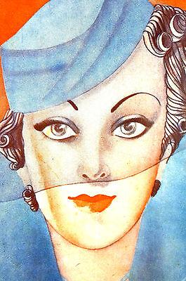 Castroz Castro Maribel 1935 BLUE EYED LADY in VEIL Spanish Art Deco Cover - Castro Costume