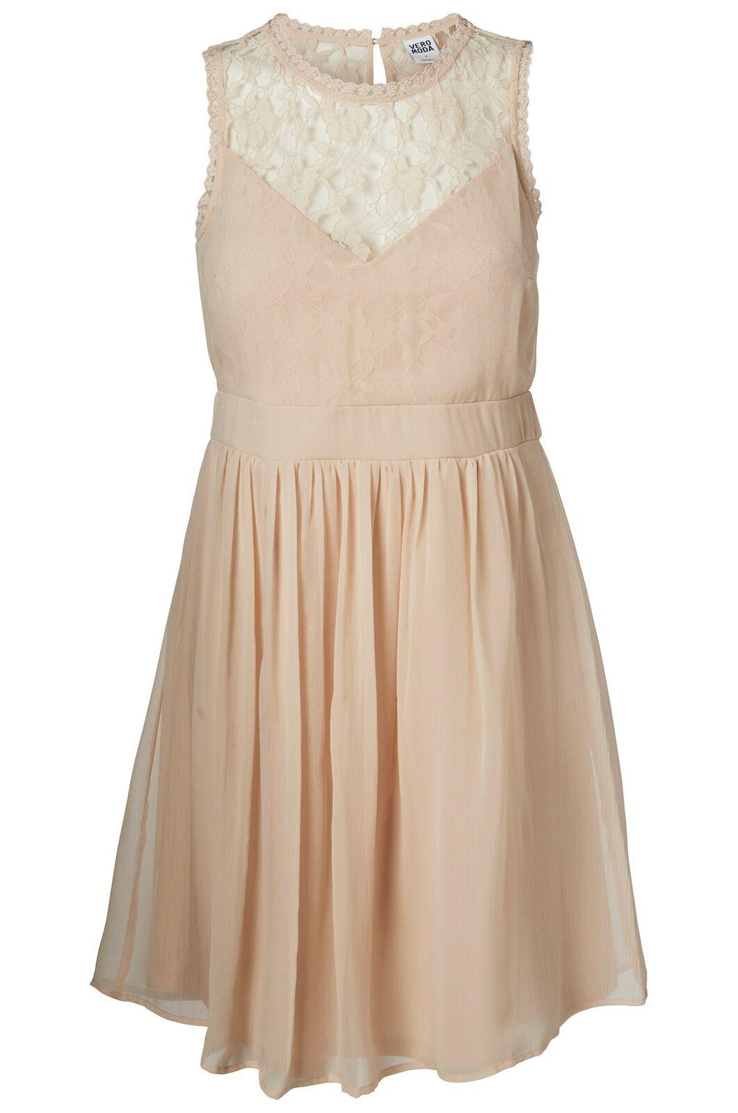 Vero Moda Kleid mit Spitze XS S M L XL VMAya Mini Dress 10149620 rosa kurz NEU