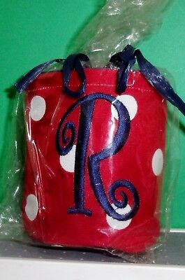 Monogrammed Can CLOTH  Koozie INITIAL R  NEW RED & WHITE POLKA DOT INSULATE NAVY - Monogrammed Koozies