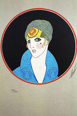 Erte 1982 YELLOW TURBAN - LADY w BLACK BEAUTY MARK -  Art Deco Print Matted