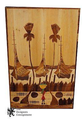 Native Polynesian Folk Art Wood Panel Seascape Teak Boats Palm Trees Ocean