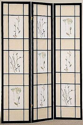 4 & 3 Panel Wood Room Divider Screen Flowered Shoji