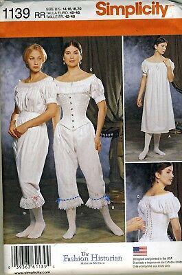 Civil War Era Ladies Under Garments  Simplicity Pattern 1139 Size 14-20 ](Costumes Under 20)
