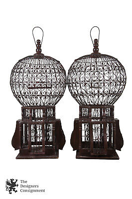 2 Vintage Persian Style Domed Bird Cages Aviary Songbird Architectural Wire 25""