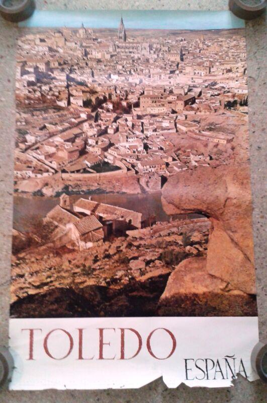 Vintage rare travel poster Toledo Spain landscape Cathedral catholic