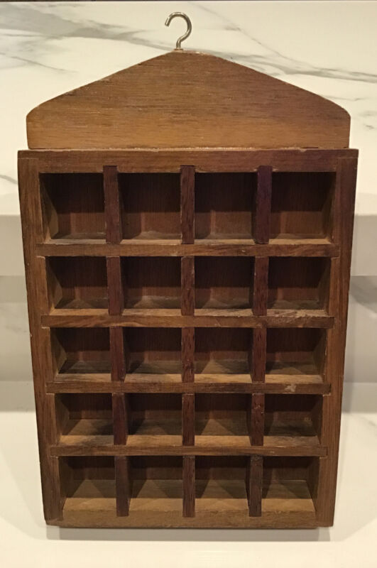 """Vintage WOOD THIMBLE COLLECTION DISPLAY WALL RACK /  Holds 20  / Size: 9"""" x 6"""""""