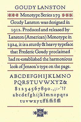 New Letterpress Type- 24pt. Goudy Lanston Lower Case