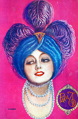 Para Ti Spanish Argentina 1930 Matted Art Cover ORIENTAL LADY PEARLS FEATHERS