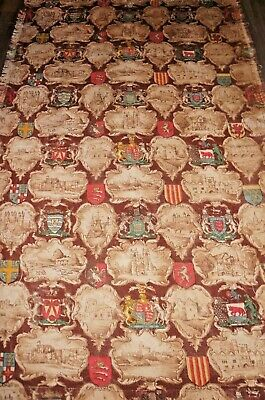 heraldic chateau castles etc old worn faded weighty linen large length 72