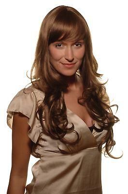 Lange, Brünette Perücken (Damen Perücke brünett Braun-Mix lang gelockt Pony Haarersatz 65 cm 285-18/350)