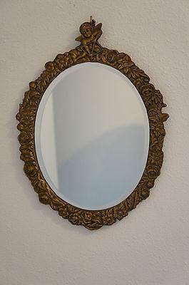 WUNDERSCHÖN alter Wandspiegel Spiegel oval Messing Barockstil Jugendstil Engel