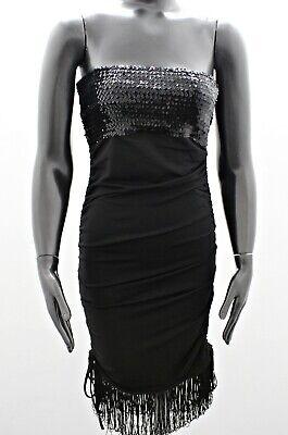 id Cocktail-Kleid Fransen Pailletten Schwarz 34 36 38 Neu (Schwarz Pailletten Flapper Kleid)