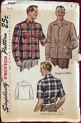 1940s Men's Shirts, Sweaters, Vests Vintage 1940's Simplicity Pattern 1961 Men's Shirt Size Small 14 / 14-1/2 $7.99 AT vintagedancer.com