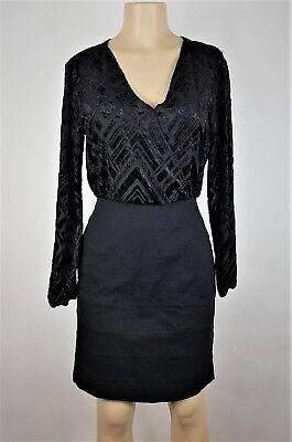 Nicole Miller Dress Womens Size 6 Black Blouson Long Sleeve Formal