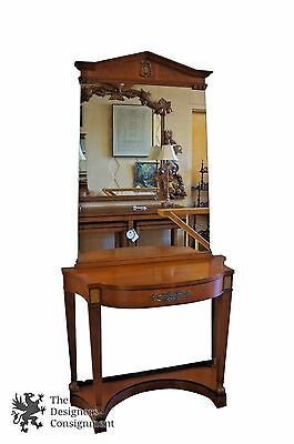 Vintage Weiman Cherry Federal Empire Mirrored Entryway Console Table Lyre