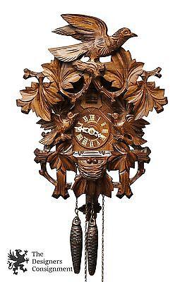 Anton Schneider  Black Forest Bird Nesting Carved Cuckoo Clock Germany 8 Day