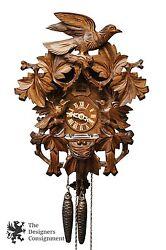 Anton Schneider  Black Forest Bird Nesting Carved Cuckoo Clock Germany 1 Day