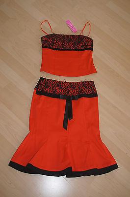 NEU Kostüm 2tlg Rock Top/Oberteil Cocktailkleid XS/S 34/36 rot schwarz Hochzeit