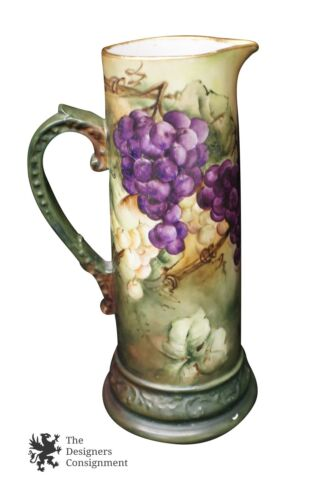 Stunning Delinieres & Co. Antique Tankard Hand Painted Grapes French Limoges
