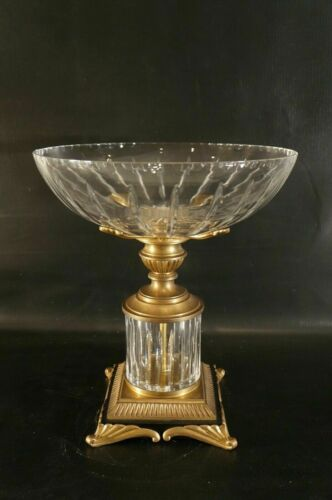 French Bronze and Crystal Centerpiece Bowl Vase.