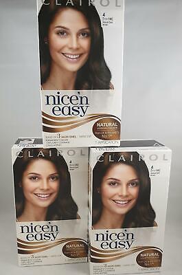 3 x Clairol Nice'n Easy Permanent Hair Dye, 4 Natural Dark Brown