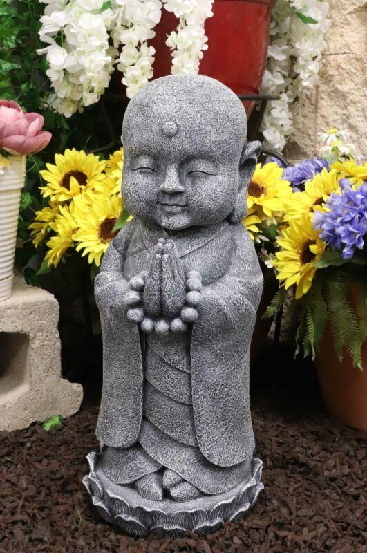 "20""H Large Jizo Buddha Monk With Prayer Beads On Lotus Throne Garden Statue"