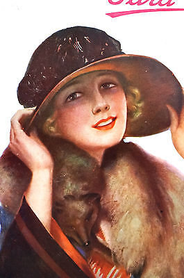 Para Ti Spanish Argentina 1920 Matted Art Cover LADY BIG HAT FOX FUR COLLAR