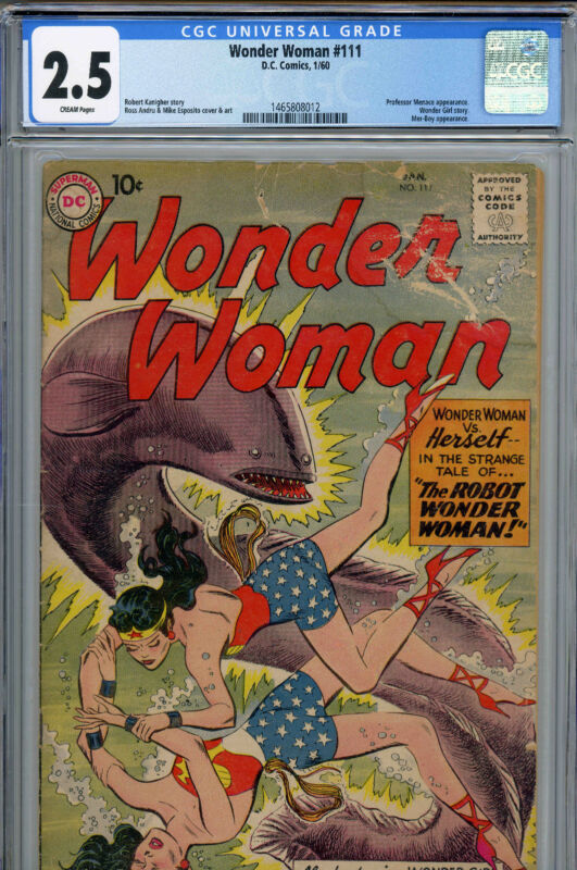 Wonder Woman #111 (DC, Jan 1960) CGC 2.5 (CREAM) Vintage Comic Book