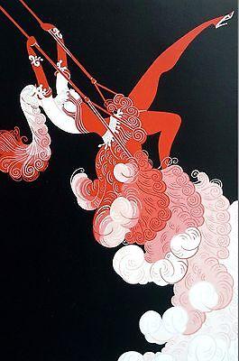 Erte Print 1987 TRAPEZE ARTIST CIRCUS PERFORMER SWING Art Deco Illustration