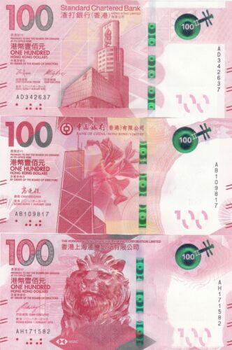 Hong Kong 100 Dollars 3 Banks set 2018(2019) UNC P-New