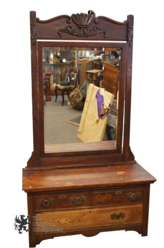 Antique Oak 1880s Hallway Tree Primitive Rustic Beveled Country Mirror Chest
