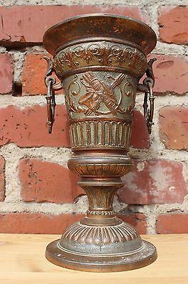 schöner Gründerzeit Pokal aus Kupferguß - floral verziert um 1880