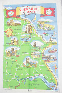 The Yorkshire Coast Map Vintage Irish Linen Tea Towel Made in Ireland