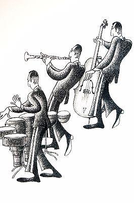 Cuban Drum - Jazz Musicians CUBAN TRIO Drum Set Upright Bass Clarinet Roger Vilar Matte Print