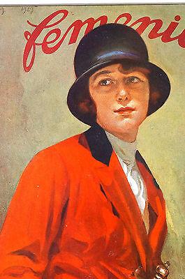 Femenil Spanish Argentina 1927 Matted Art Cover AMAZON LADY in RIDING HABITA