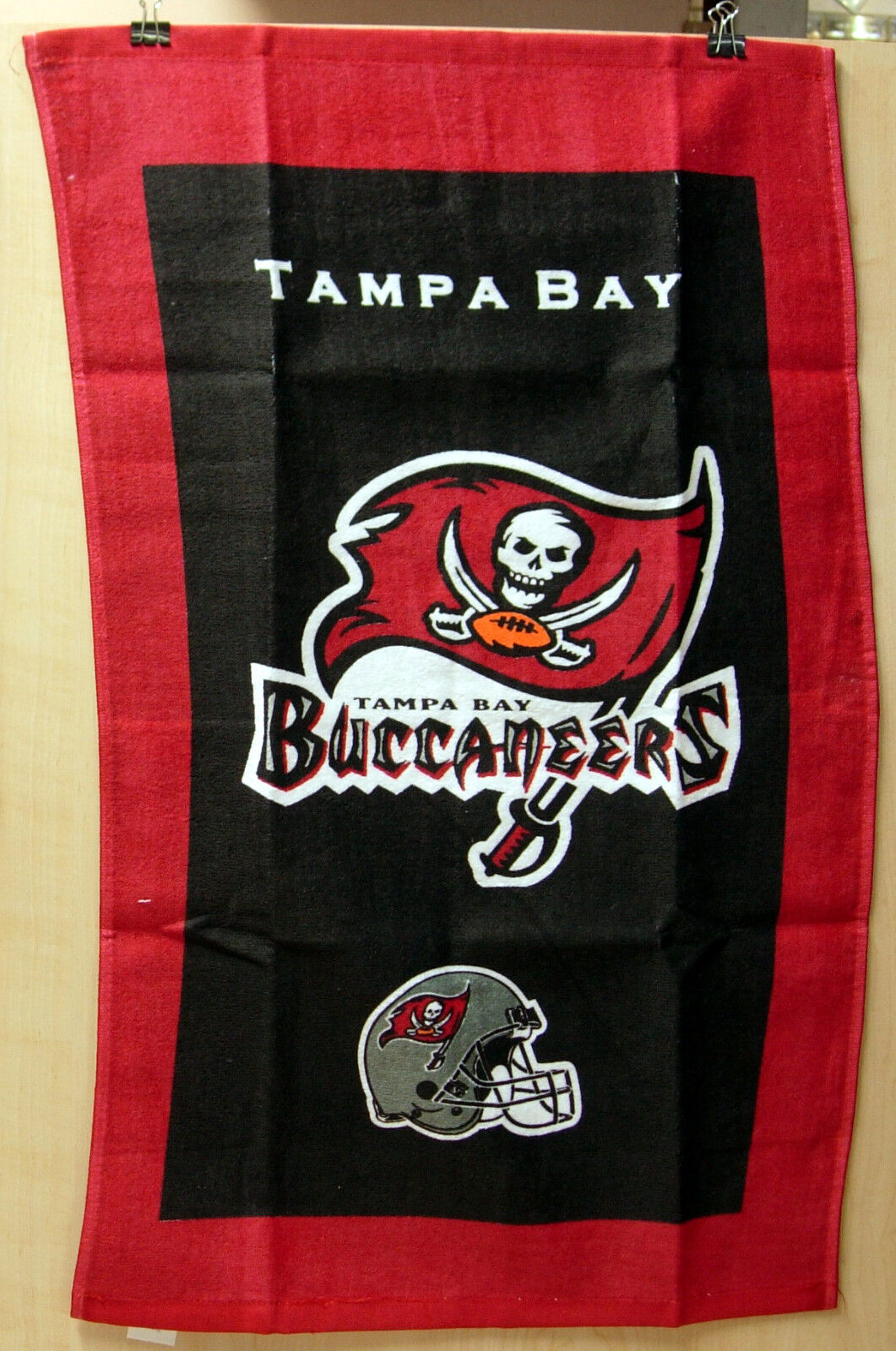 """Kr Nfl Team Bowling Towel Tampa Bay Buccaneers 100% Cotton 16"""" X 26"""" Poly Bag"""