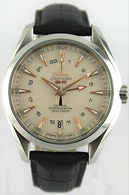 OMEGA SEAMASTER AQUA TERRA GMT 231.13.43.22.02.004 CO AXIAL BROWN LEATHER WATCH