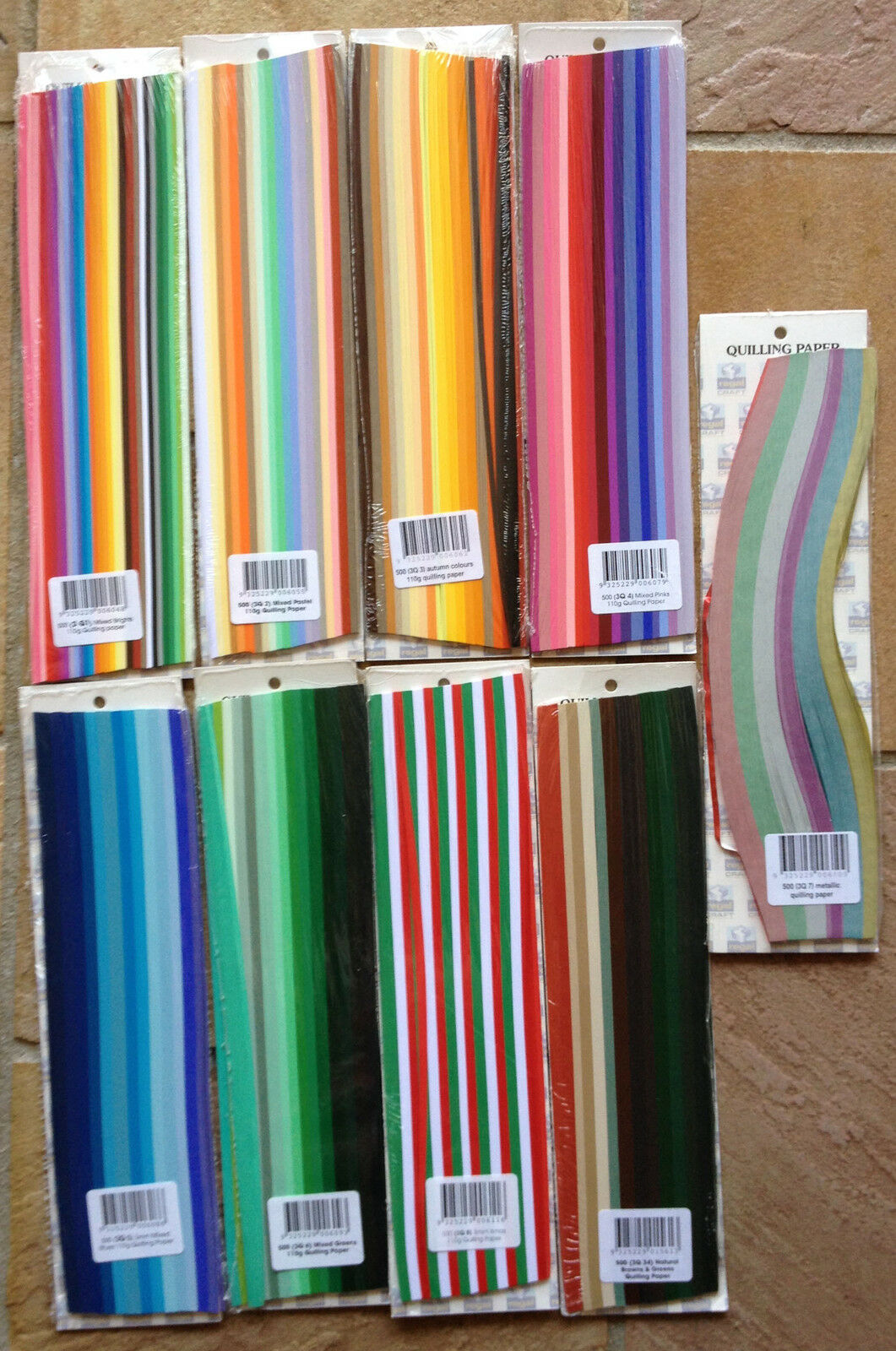 500 Strips 6mm Quilling Paper (110GSM) 9 multicolor & 30 single colors U select