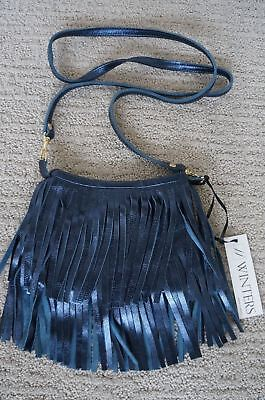 NEW JJ Winters BOHO Fringe Suede Vanessa Mini Crossbody Shoulder Bag Blue UNIQ ()